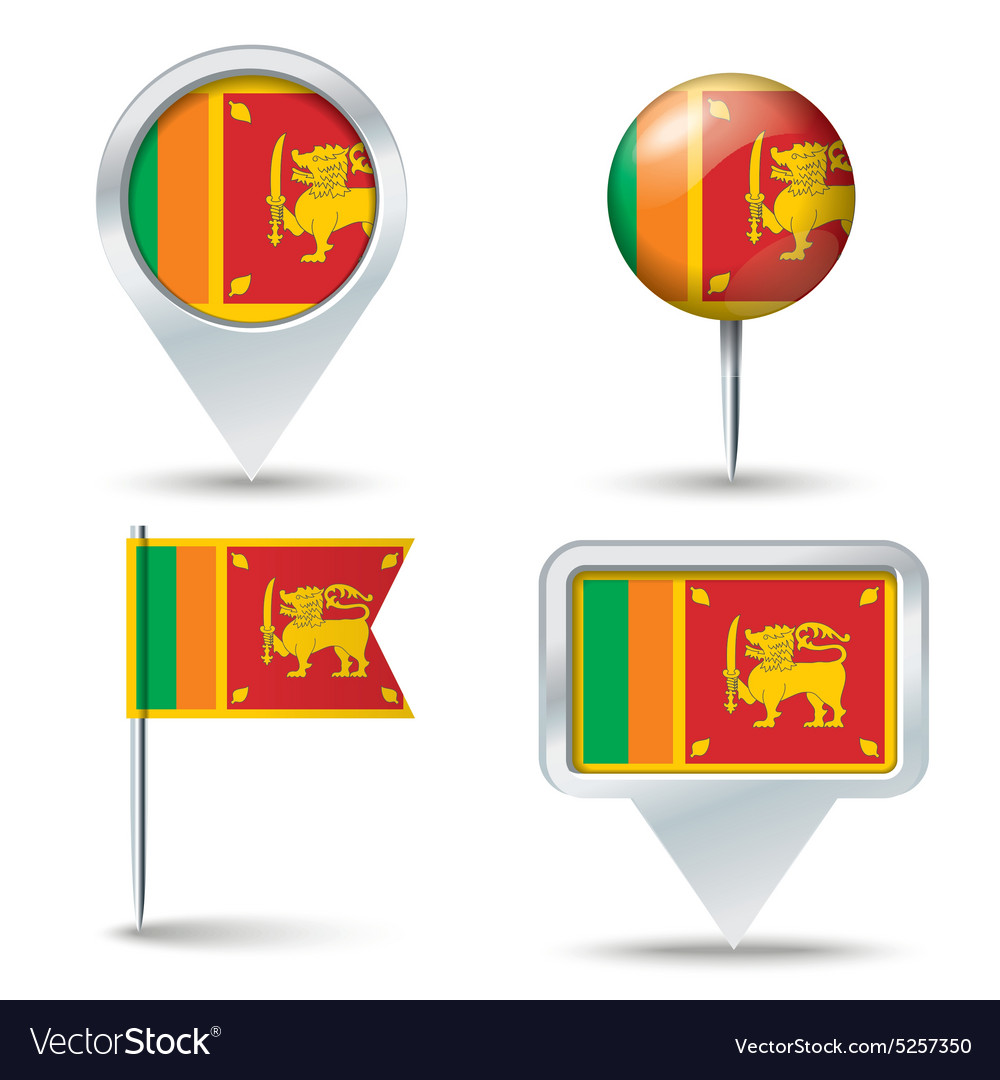 Map pins with flag of sri lanka vector