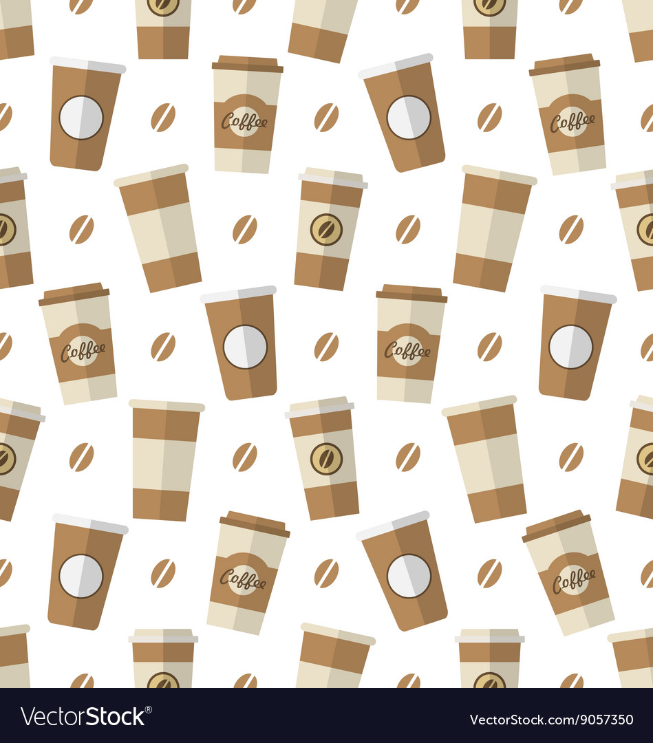 Seamless pattern with disposable coffee cups vector
