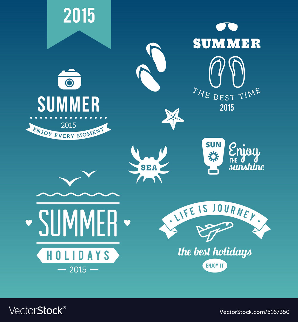Summer holidays design elements retro and vintage vector