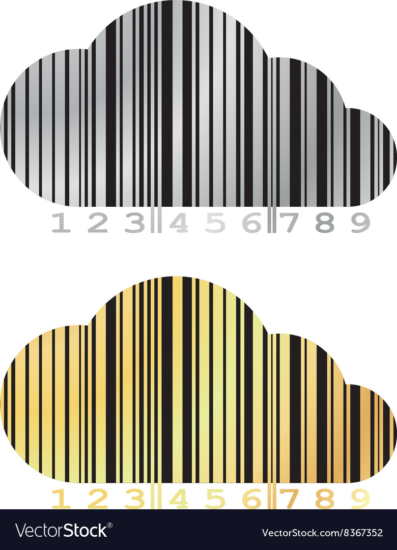 Barcode in the form of a cloud on a gold and vector