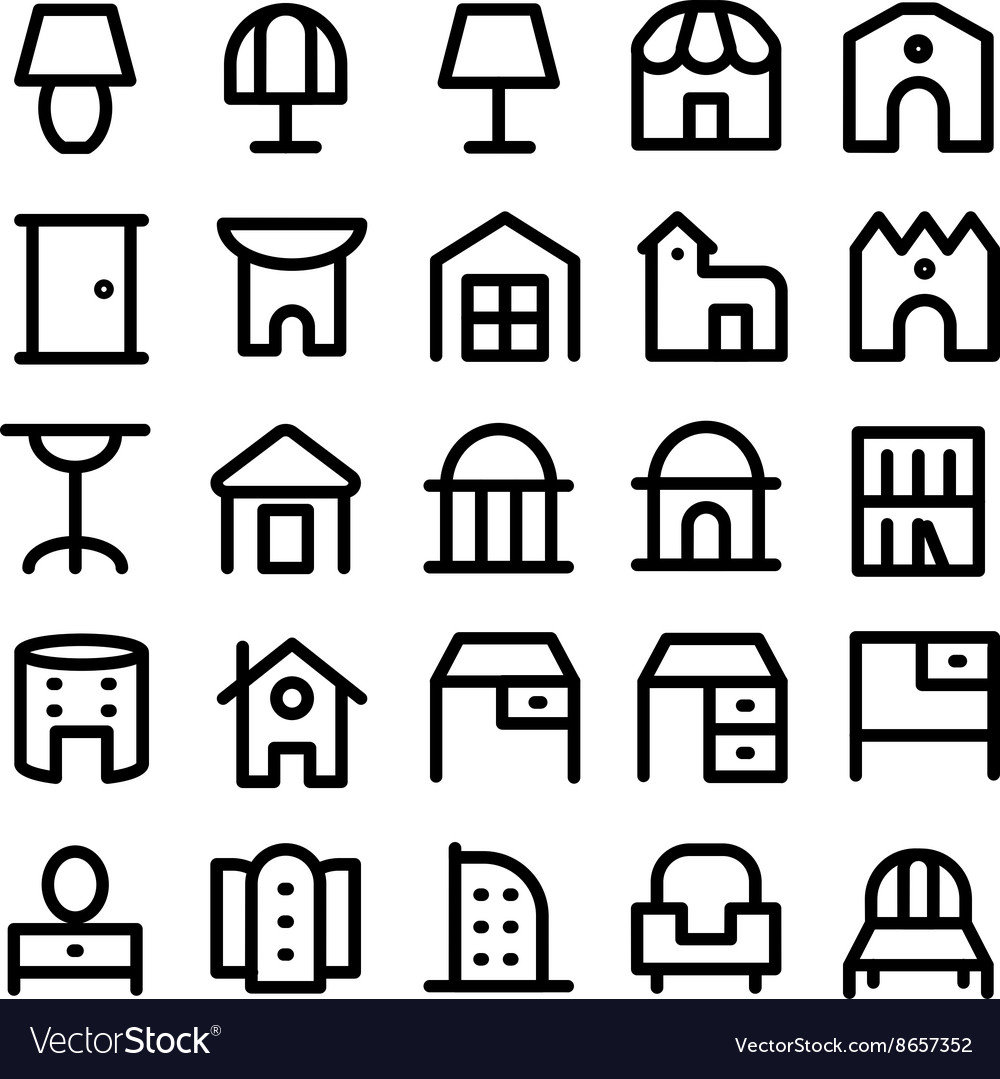 Buildings and furniture icons 13 vector