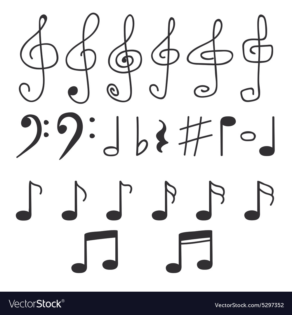 Set of hand drawn music notes vector