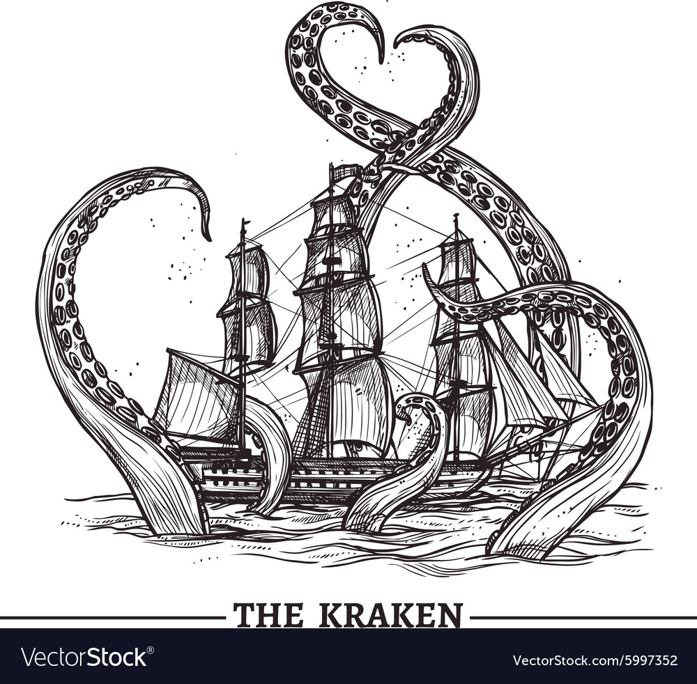Ship and octopus vector