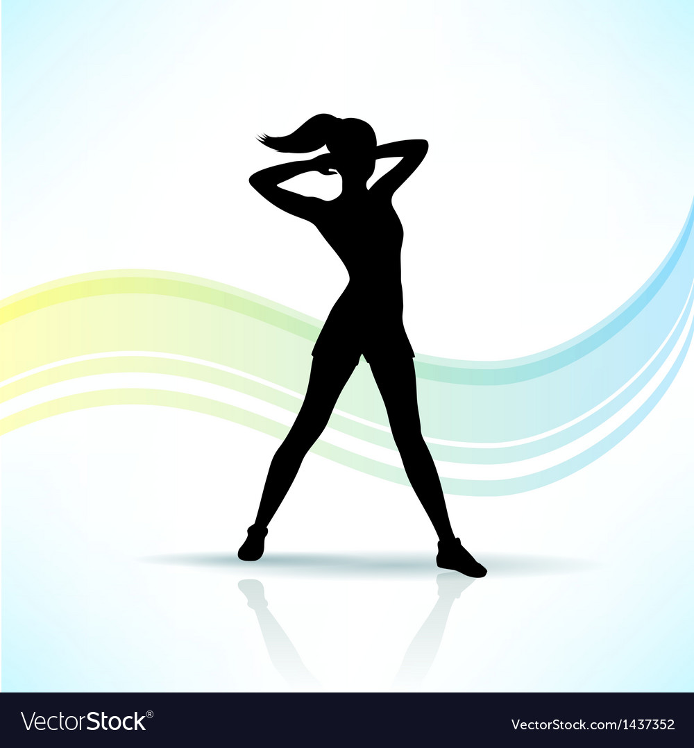 Sport fitness woman silhouette vector