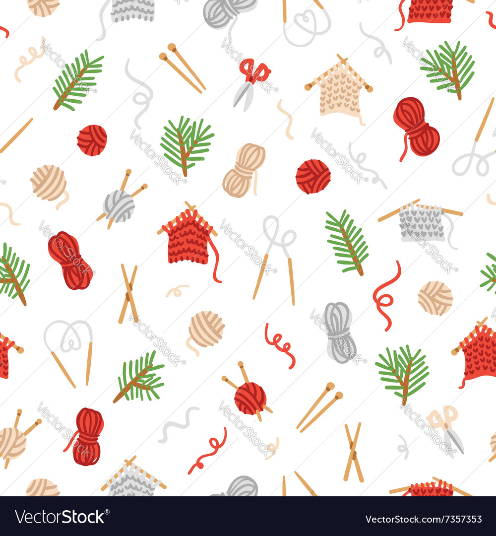 Cozy knitting pattern vector