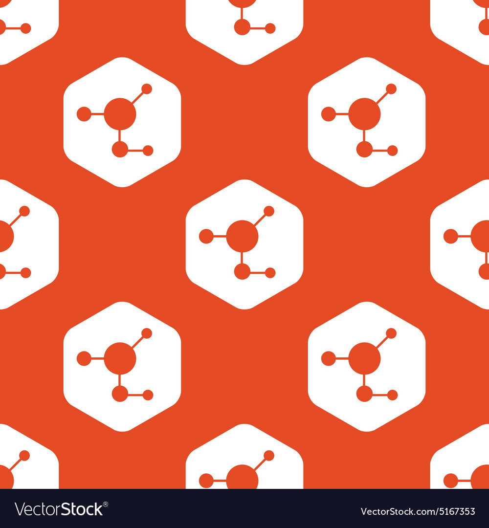 Orange hexagon molecule pattern vector
