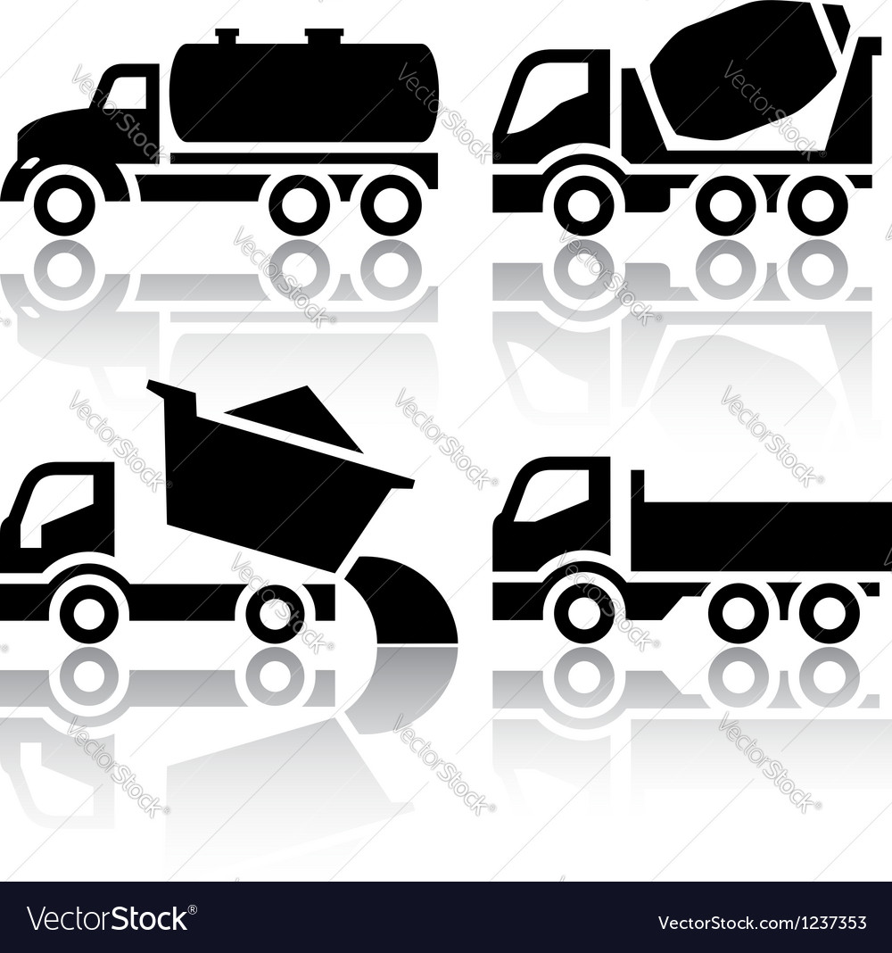 Set of transport icons  tipper and concrete mixer vector