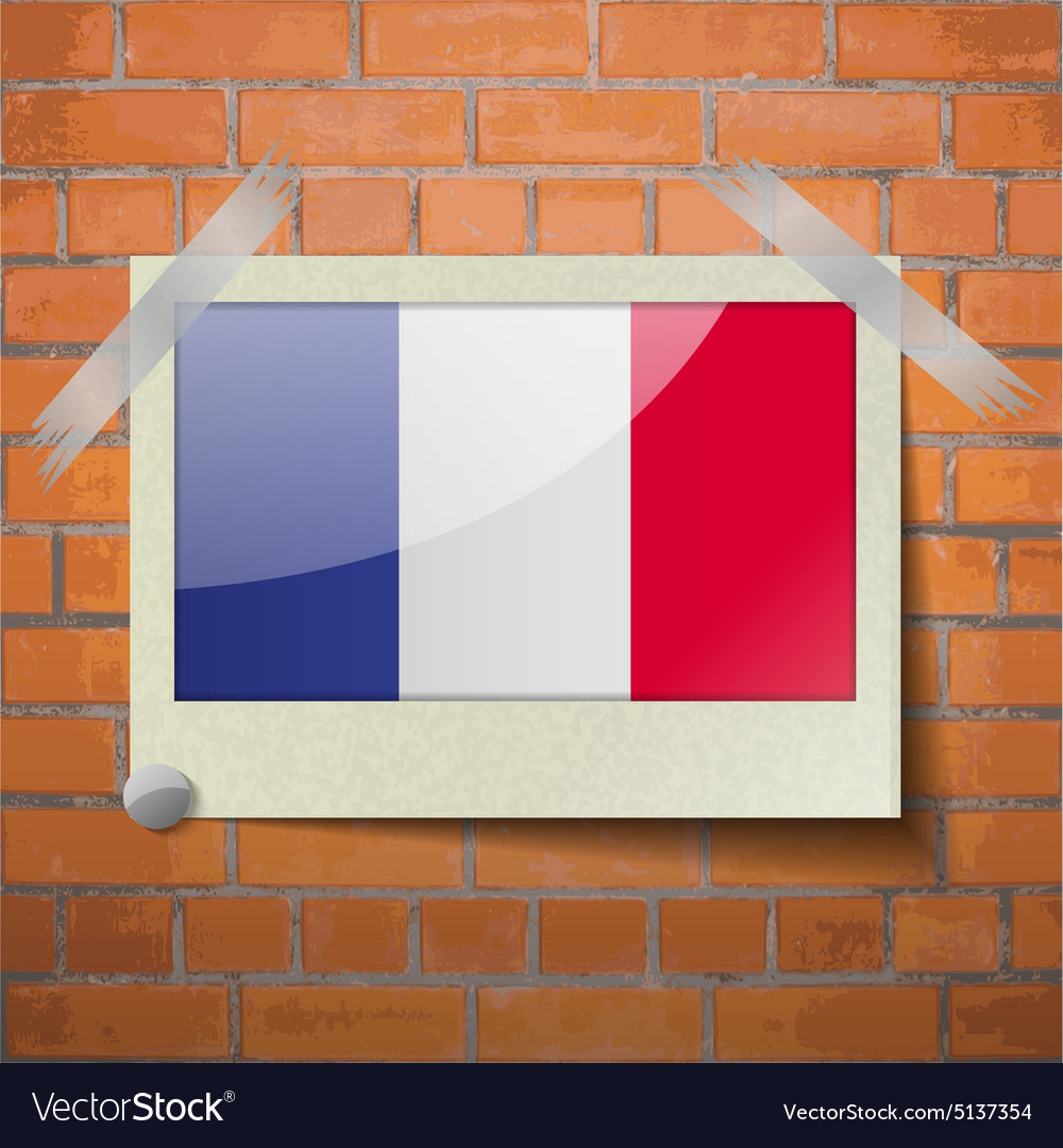 Flags frence scotch taped to a red brick wall vector