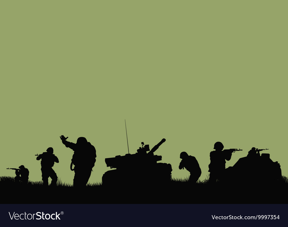 Tank and the soldiers going into battle2psd vector