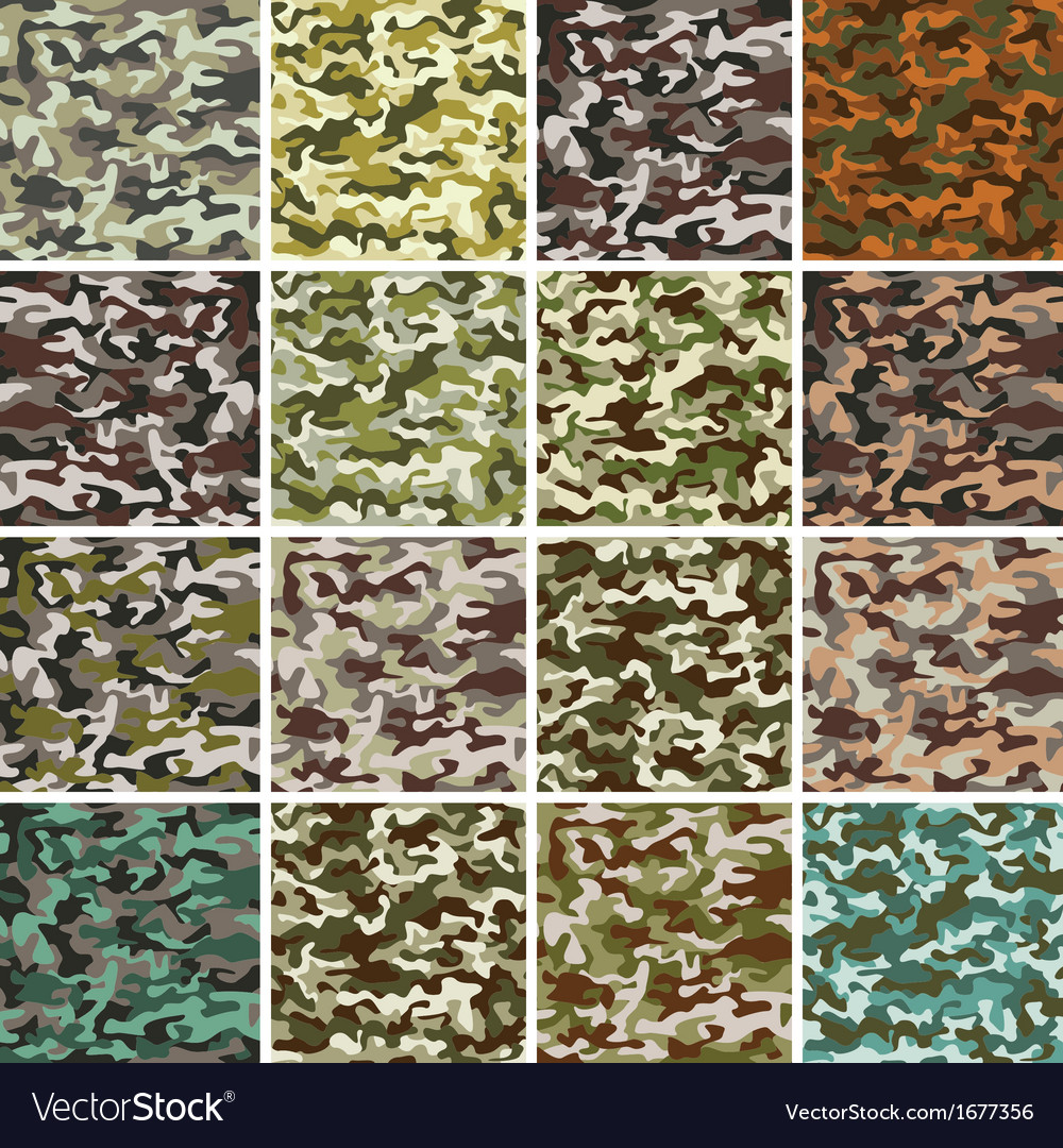 Mega set of seamless camouflage pattern vector