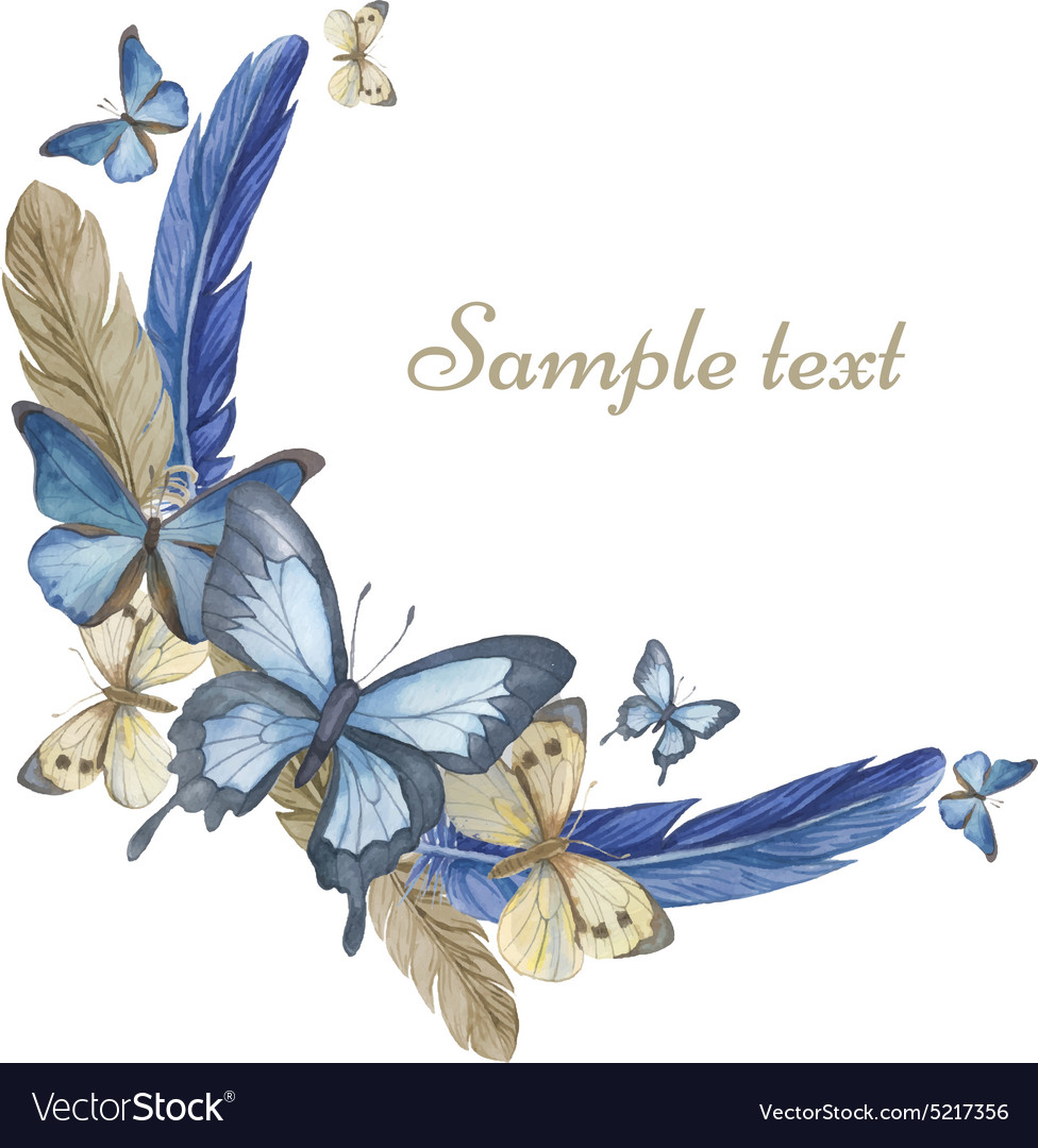 Watercolor butterflies and feathers round frame ca vector