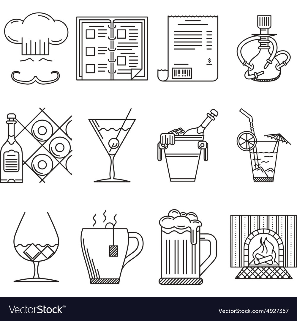 Linear icons for restaurant vector