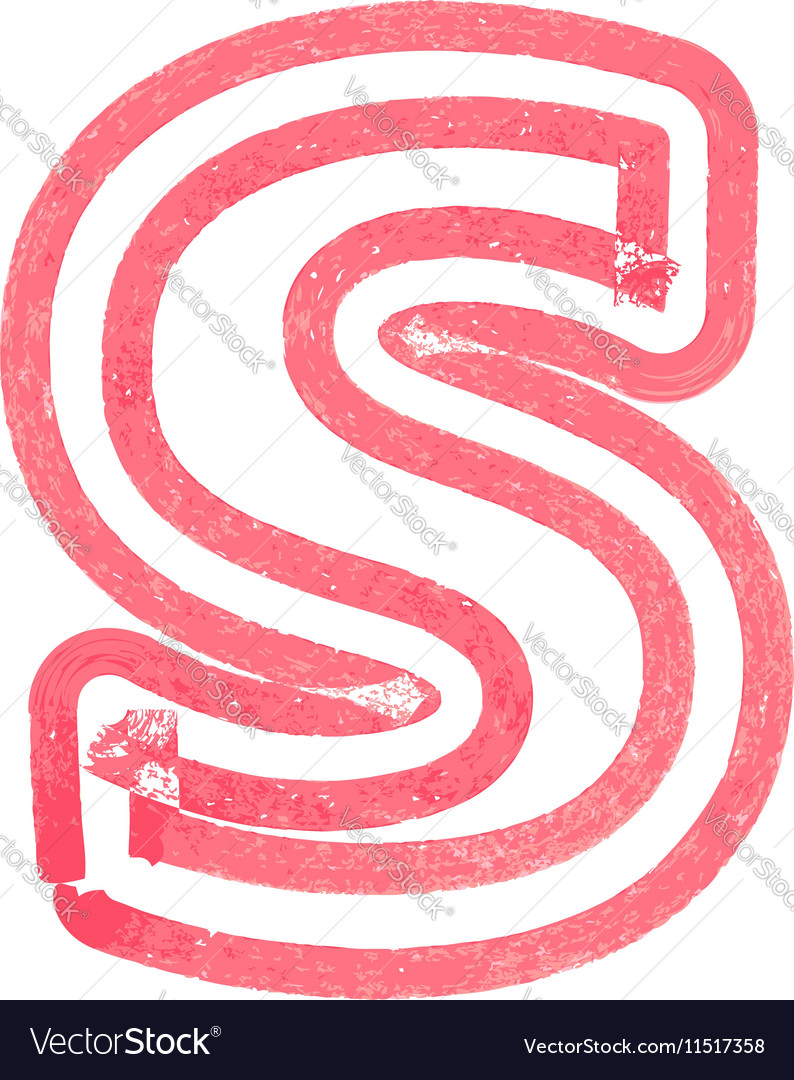 Lowercase letter s drawing with red marker vector