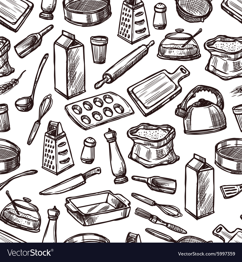 Baking seamless pattern vector