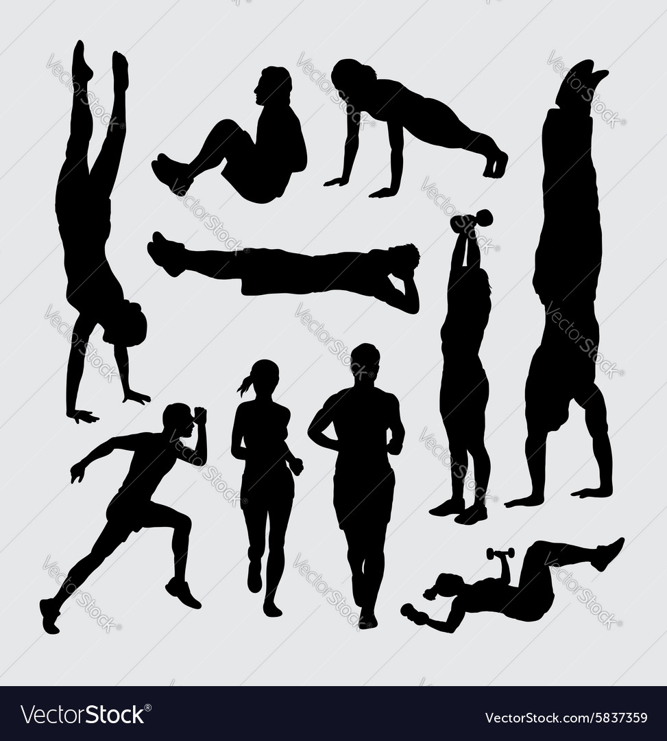 Sport training silhouettes vector