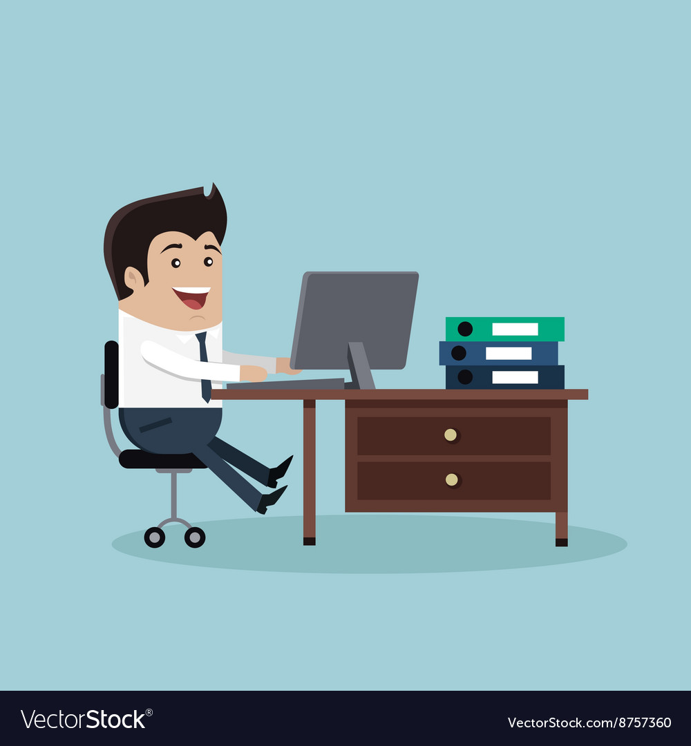 Man work with computer vector