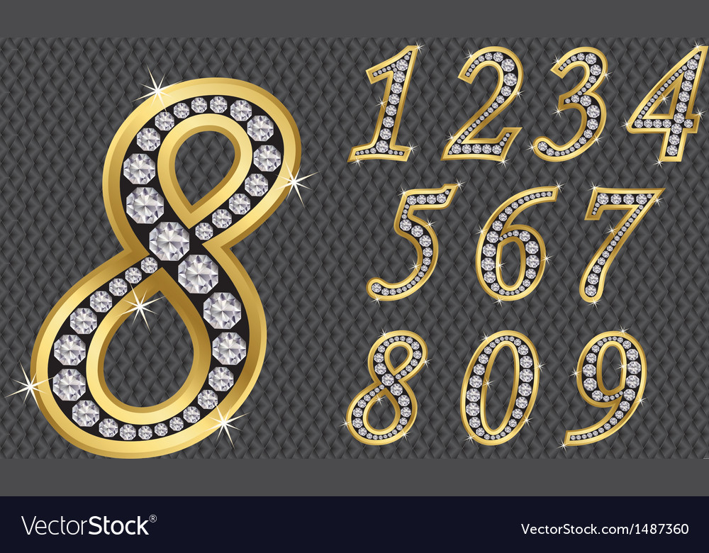 Number set from 1 to 9 golden with diamonds vector