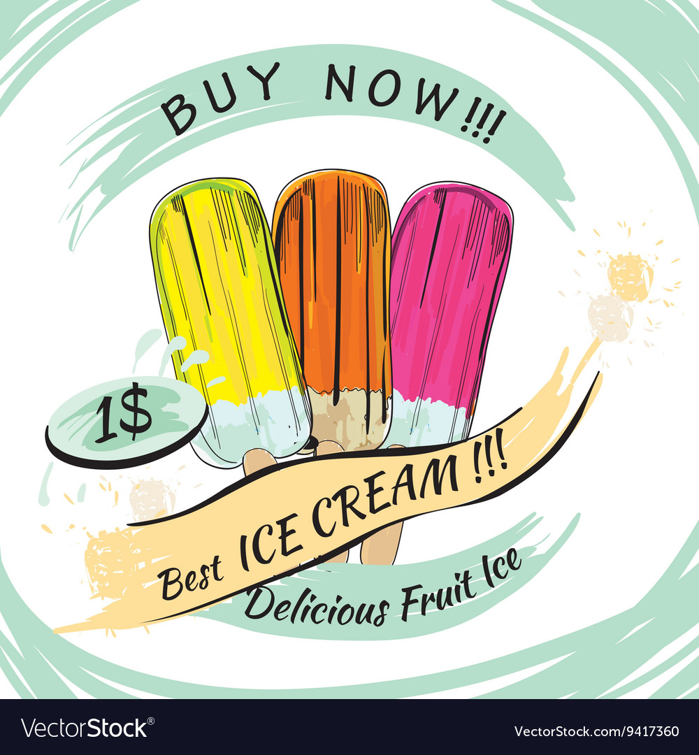 Set fruit ice with price popsicle on a white vector