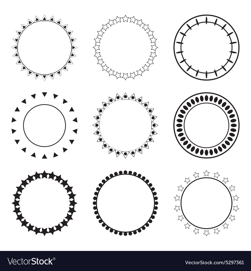 Set of round frames decoration design elements vector