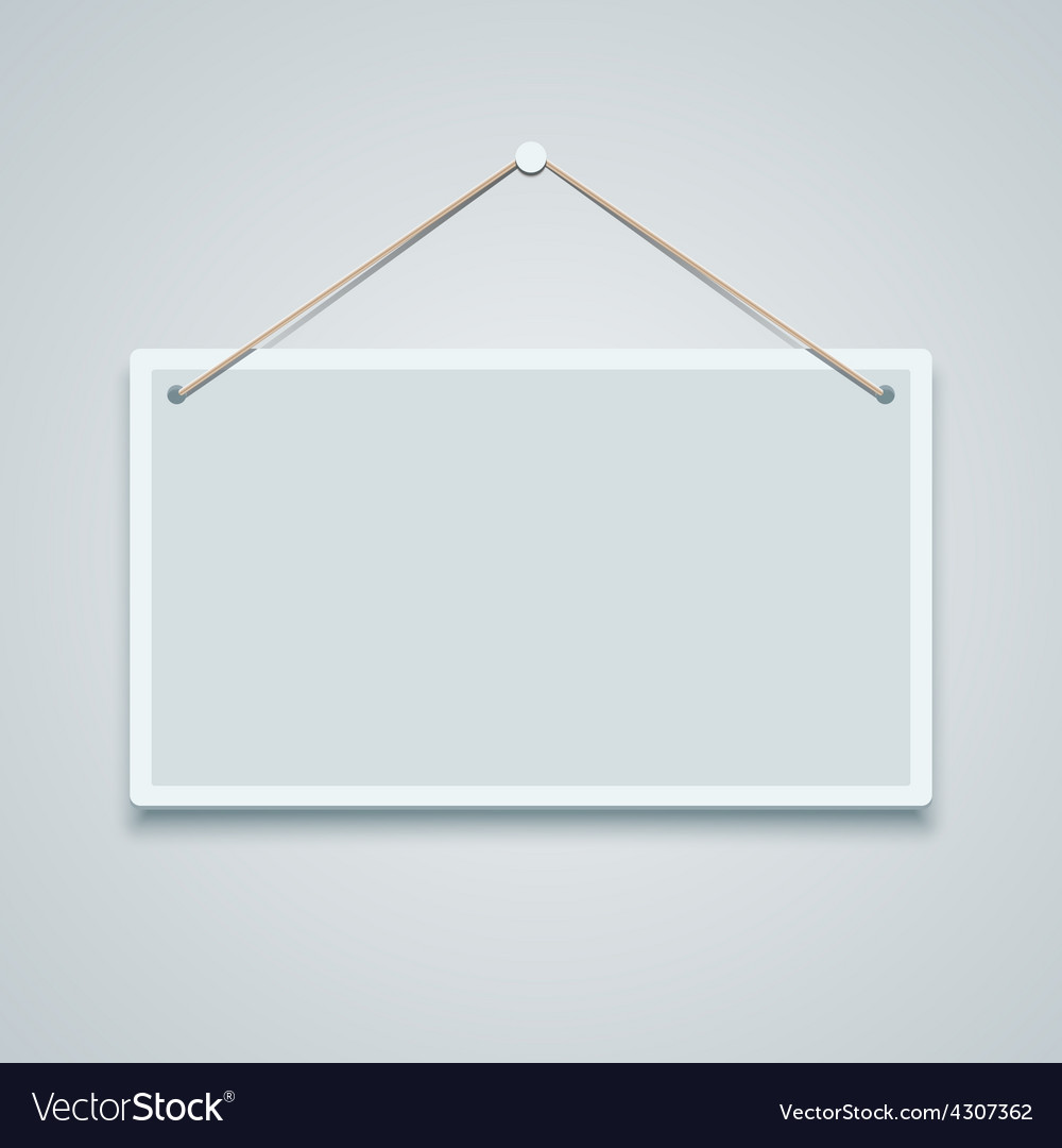 Blank sign board hanging on the wall vector