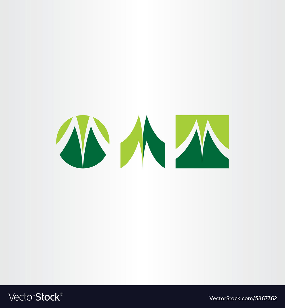 Green letter m logo set vector