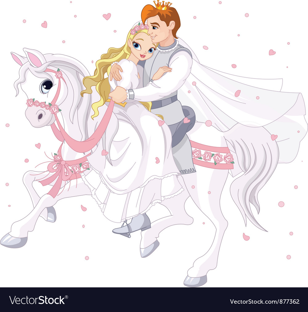 Romantic couple on horse vector