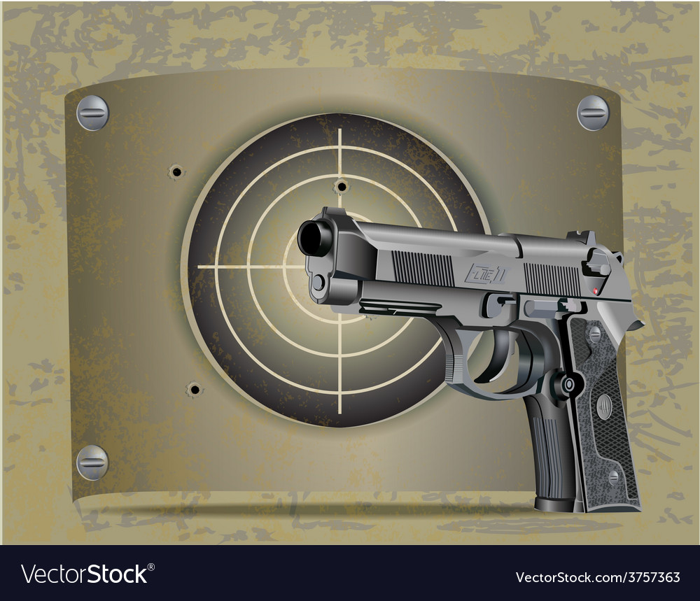 Handgun beretta elite with target vector