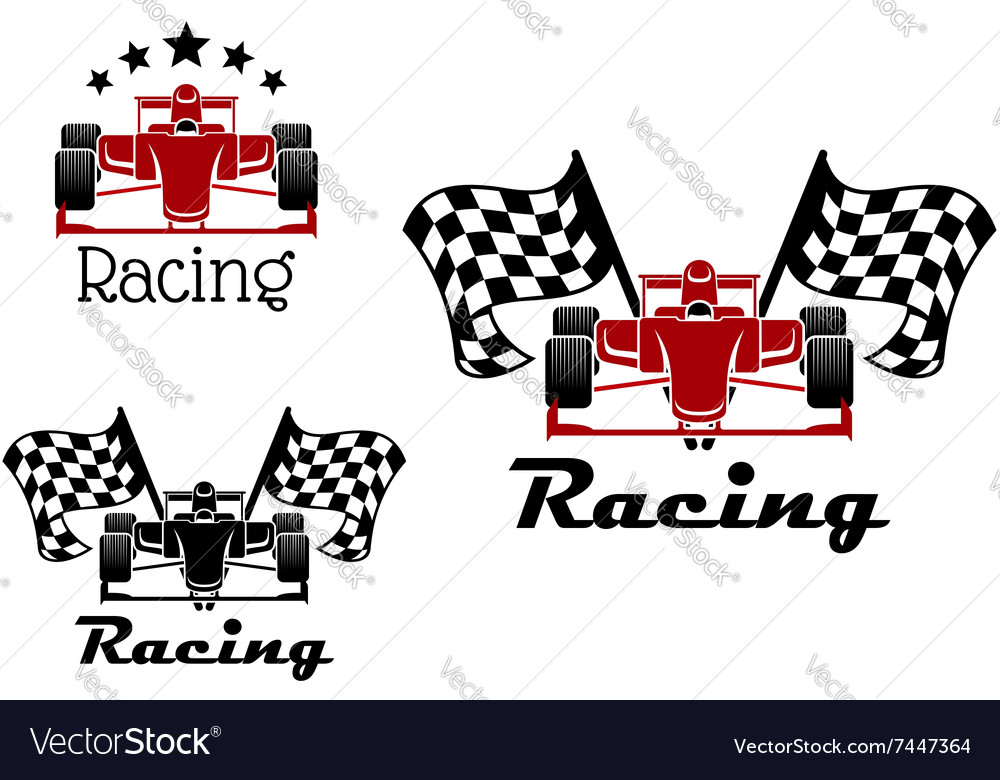 Motor racing sport icons with race cars vector