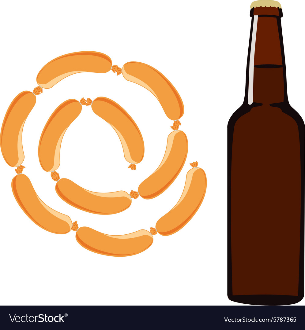 Beer and sausage vector