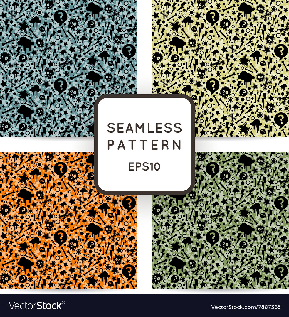 Set of seamless patterns with bones skulls vector