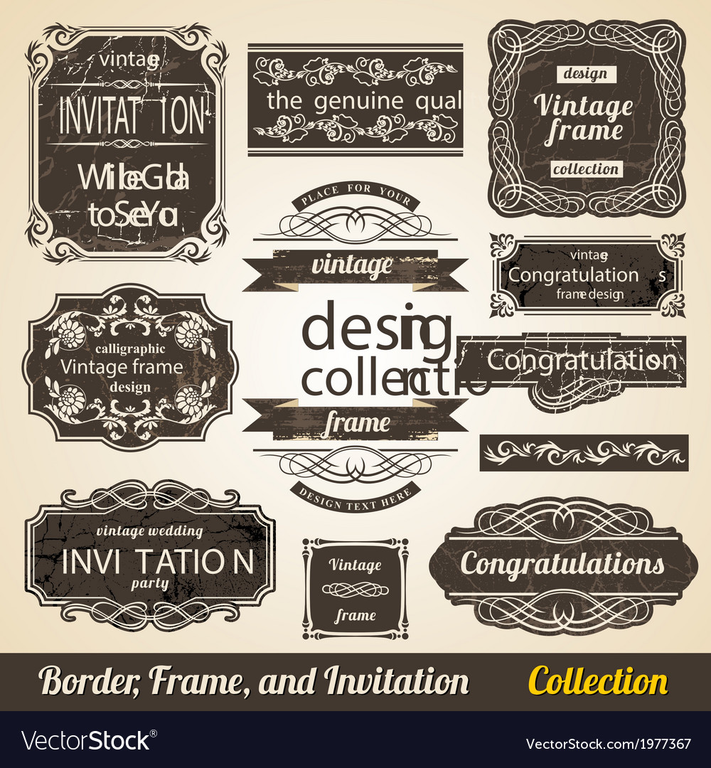 Calligraphic element border corner frame and vector