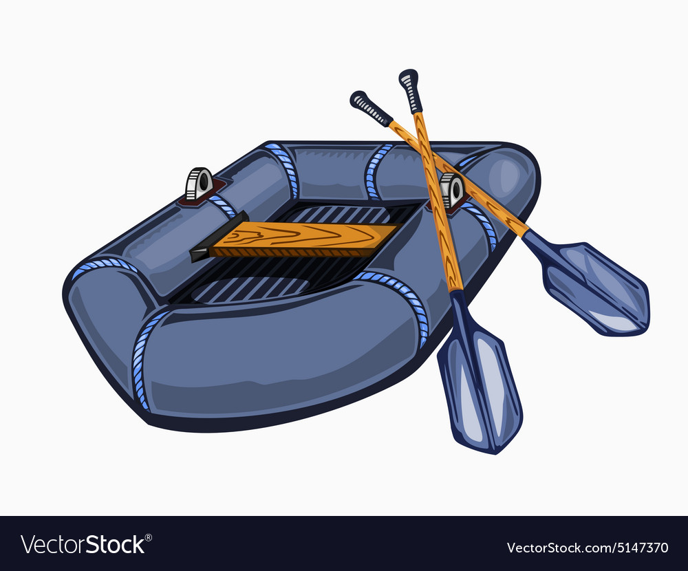 Gray inflatable boat with oars vector