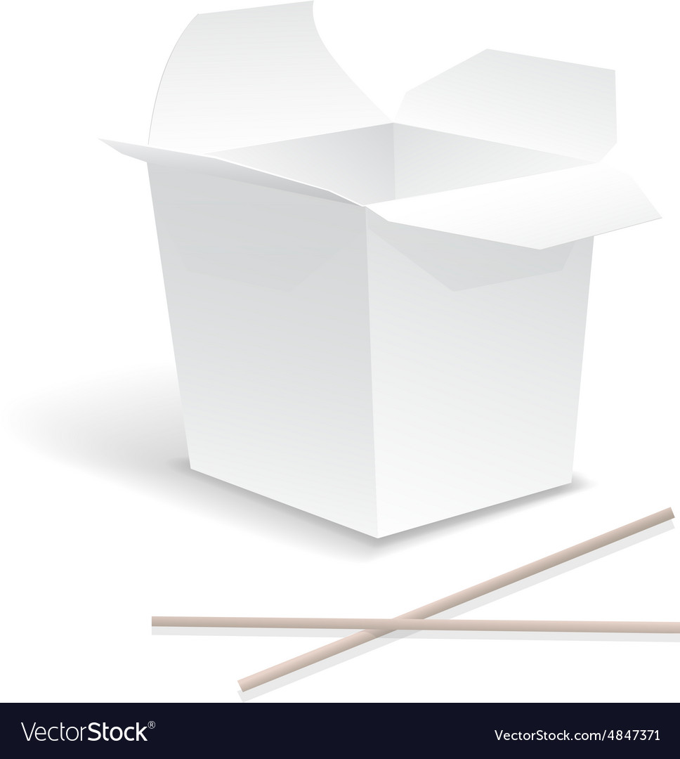 Chinese food opened white take out noodle box vector