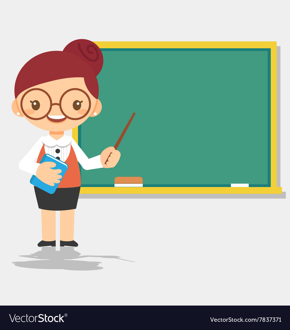 Female teacher at blackboard vector