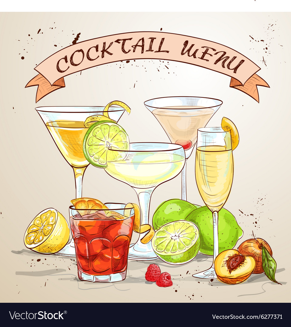 Unforgettables cocktail menu vector