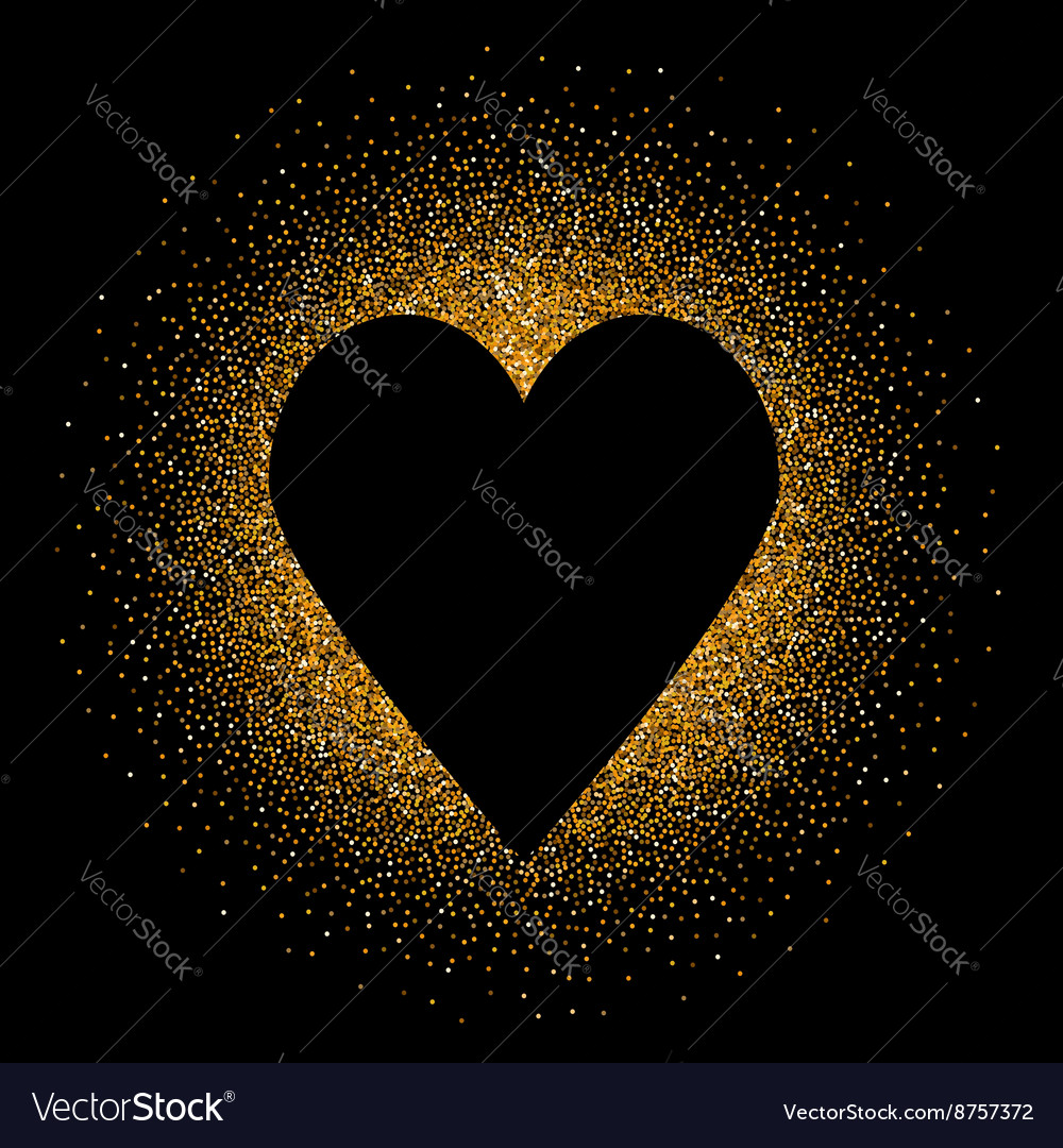 Black heart on the golden glittering background vector