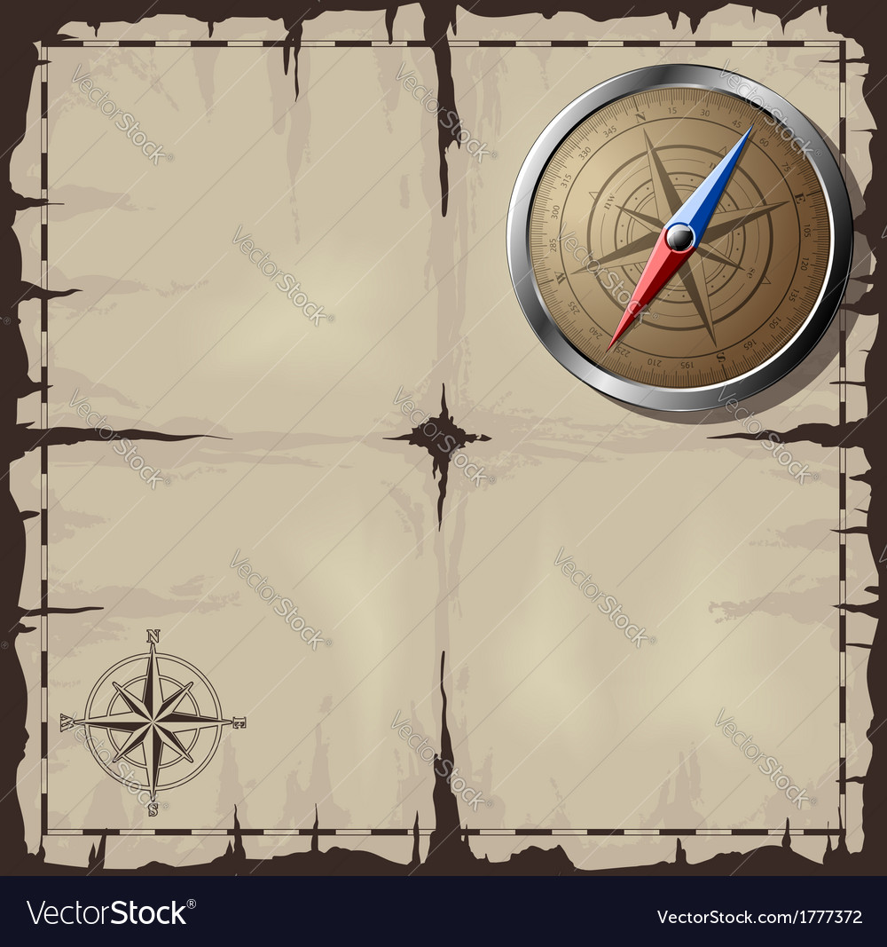 Old map with steel compass vector