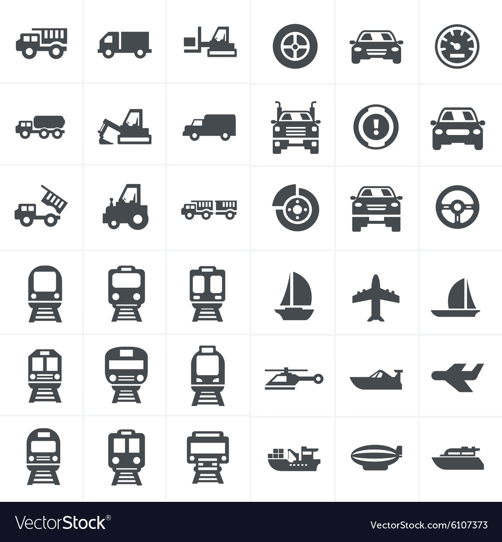 Black transport icons set on gray vector