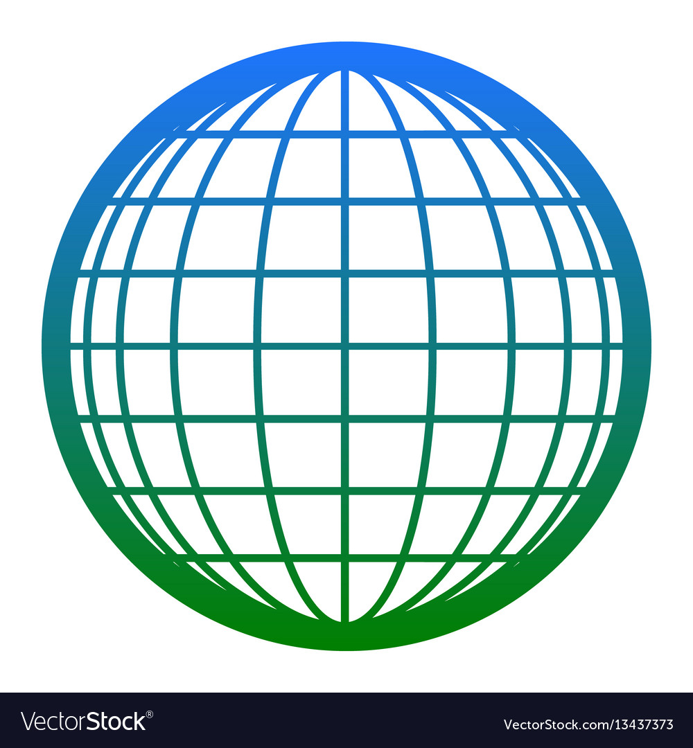 Earth globe sign white icon in bluish vector