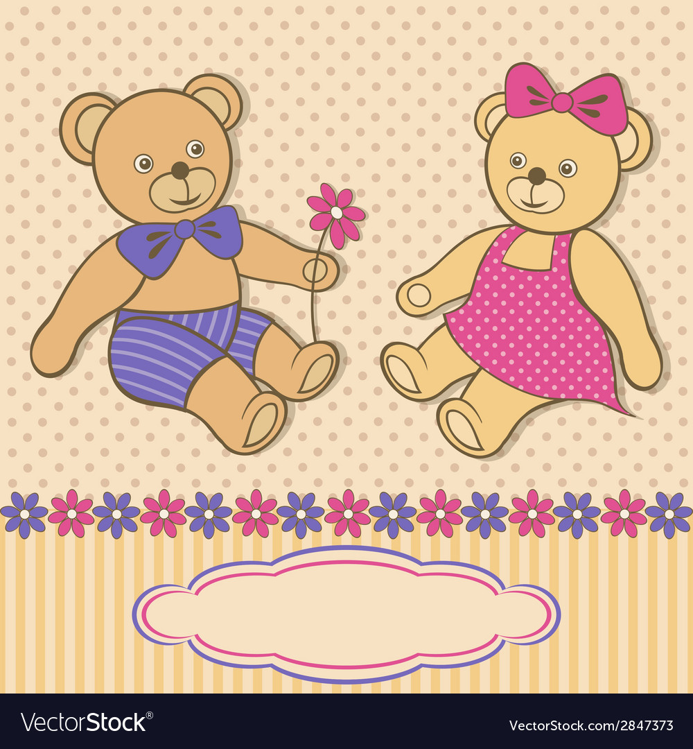 Greeting card with teddy bears vector
