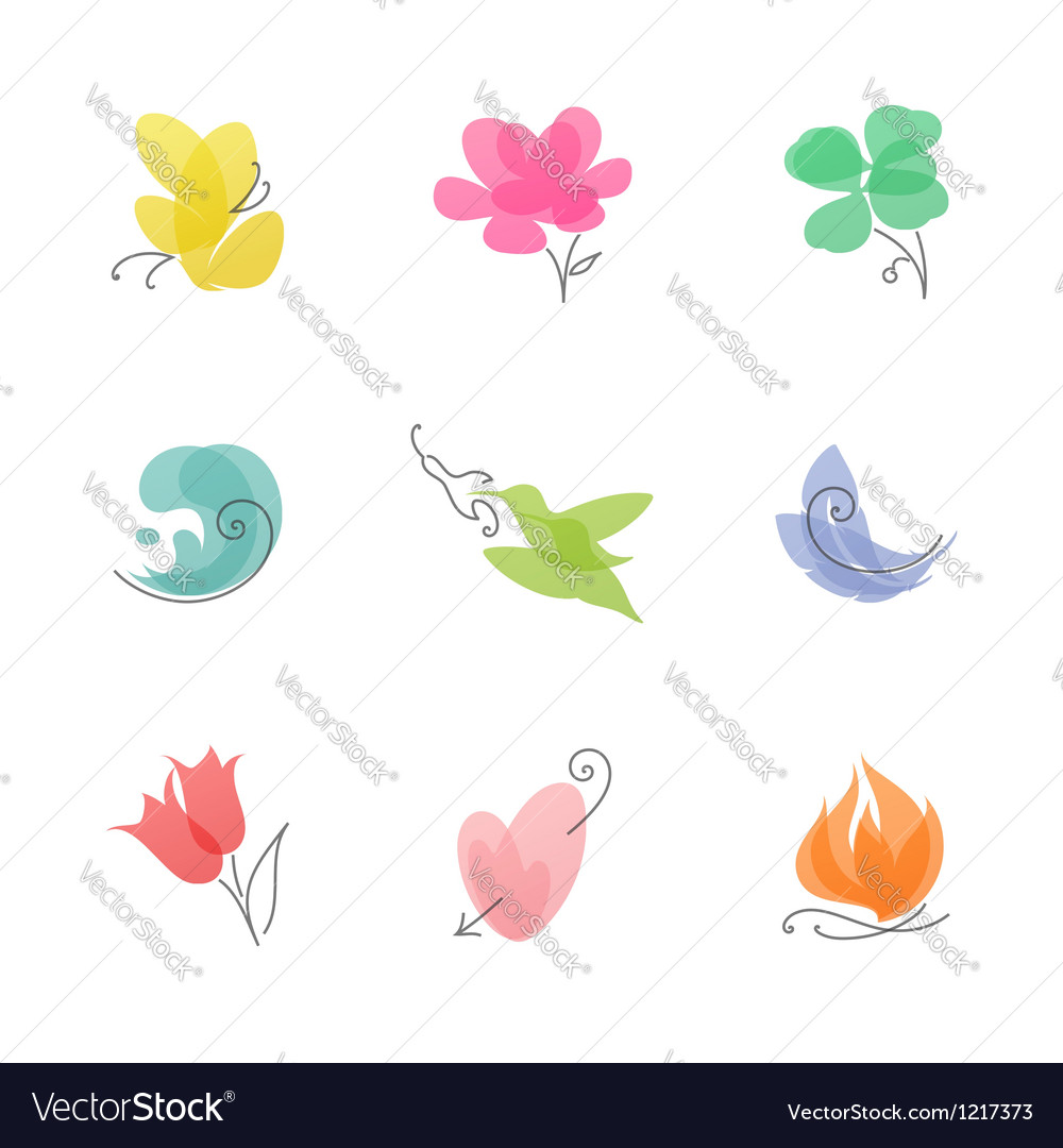 Multicolored nature set of elegant design elements vector