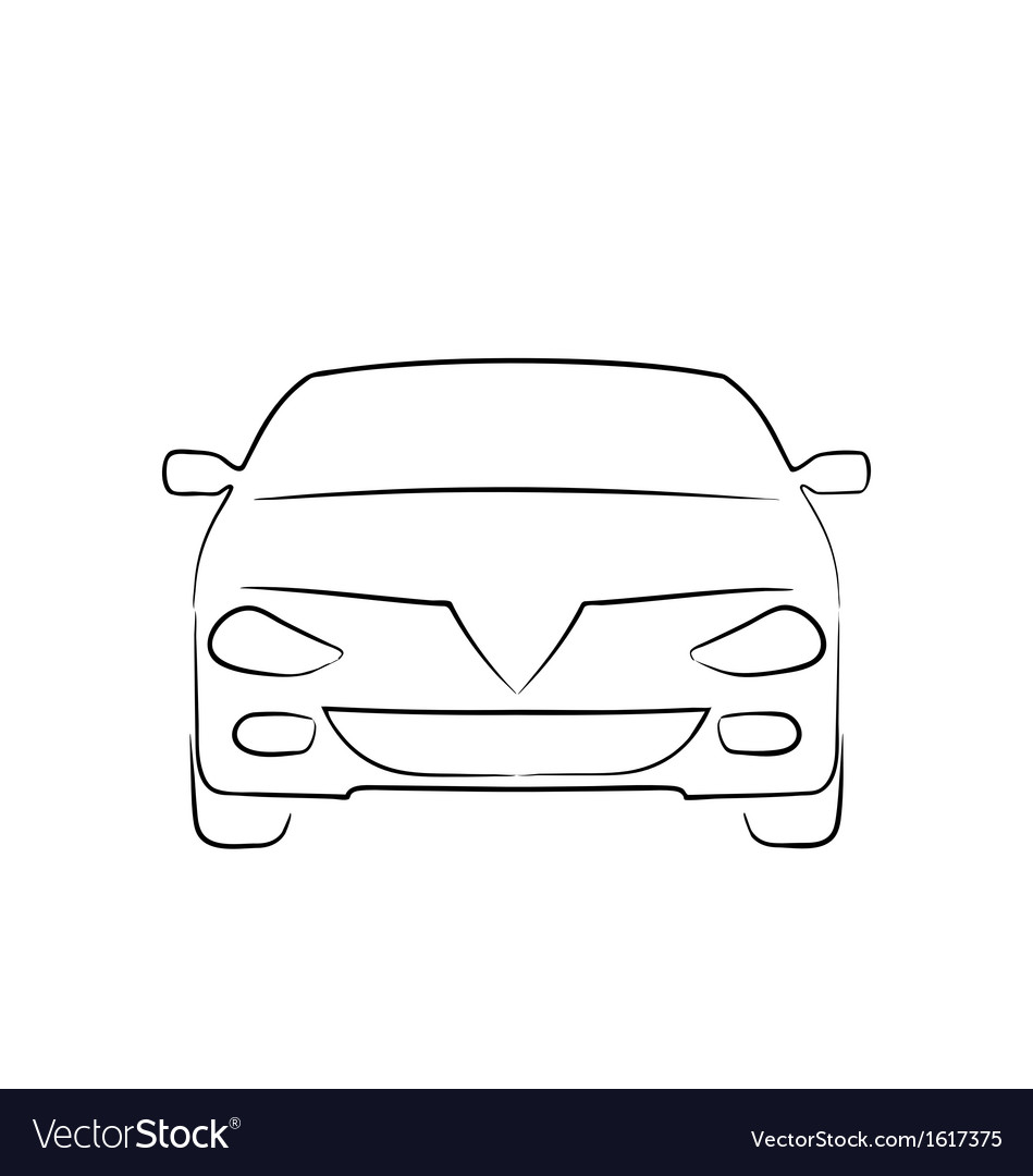 Abstract car front side full face vector