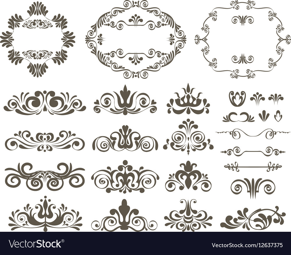 Set of calligraphic design elements and floral vector