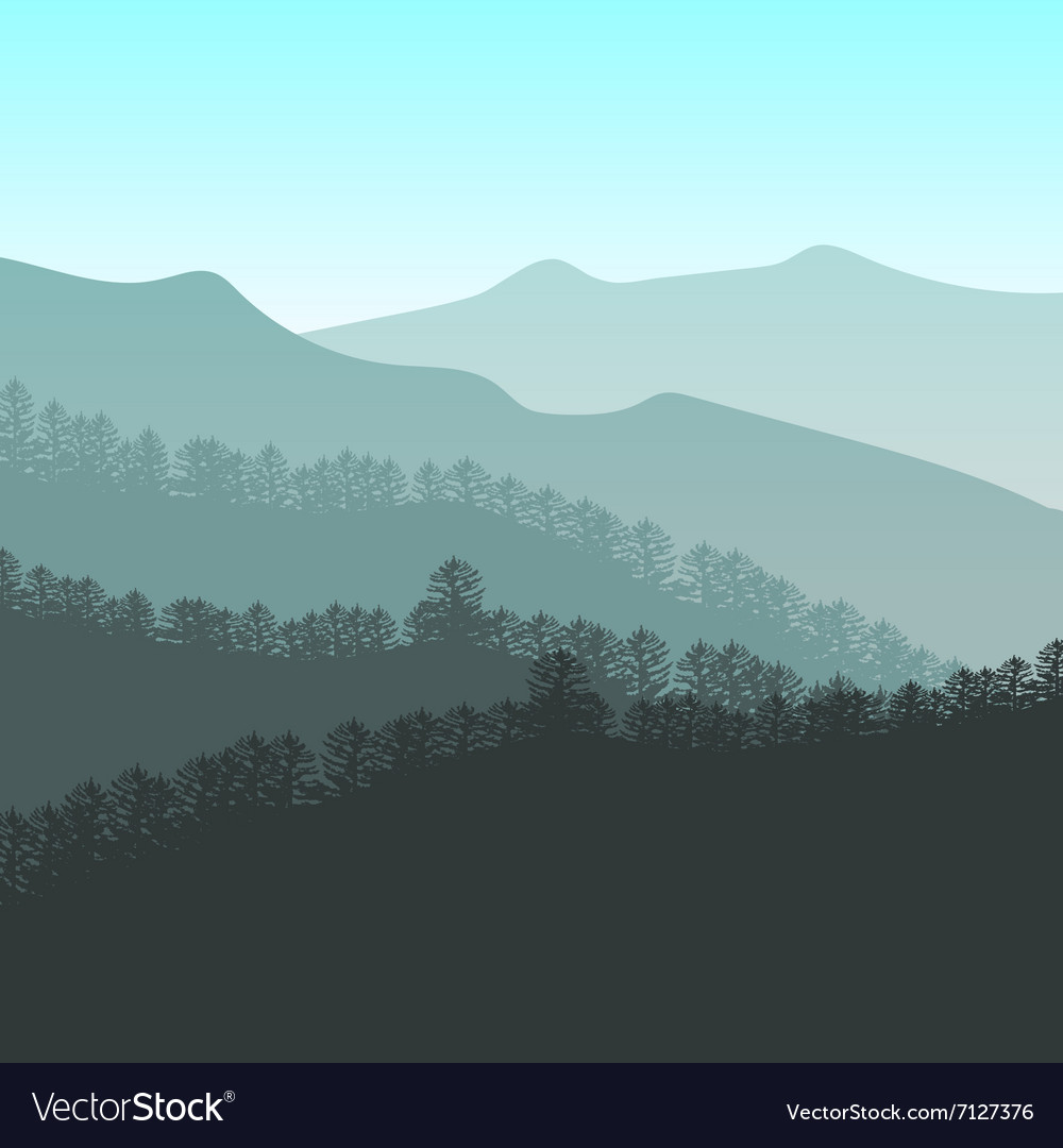 Panorama of mountain ridges vector