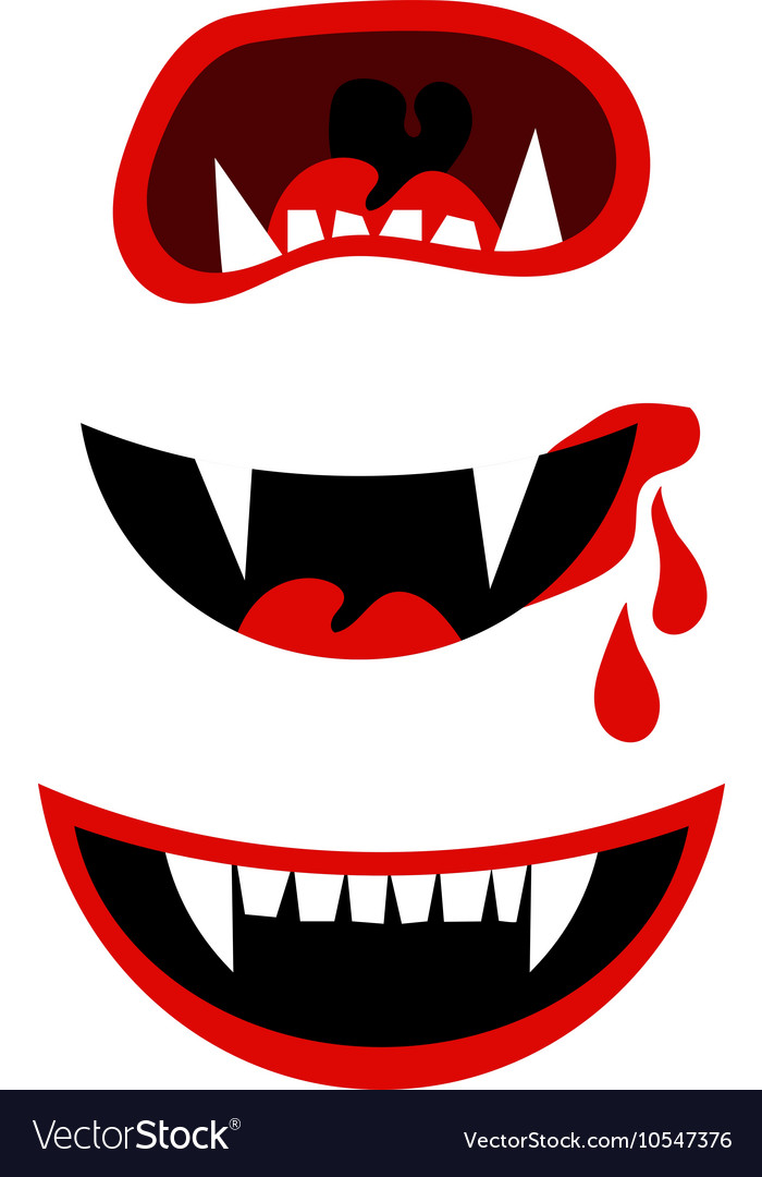 Vampire halloween mouth with fangs isolated on vector