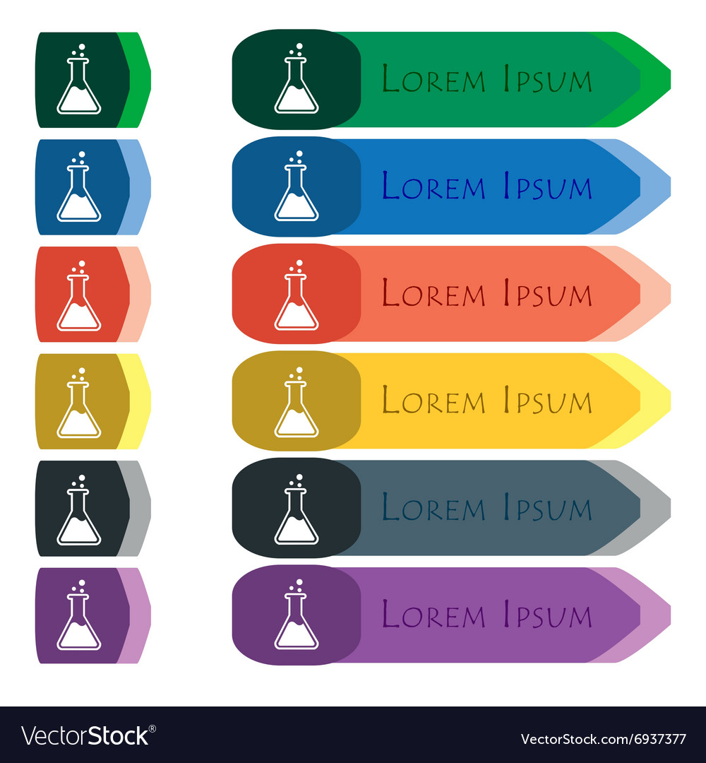 Flask icon sign set of colorful bright long vector