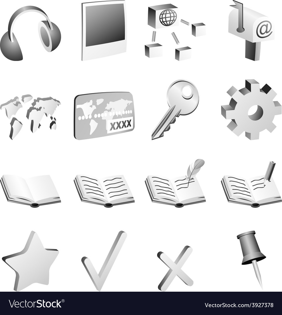 Bw icon set vector