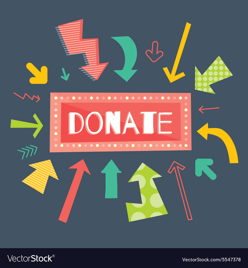 Donate red button with colorful arrows pointing on vector