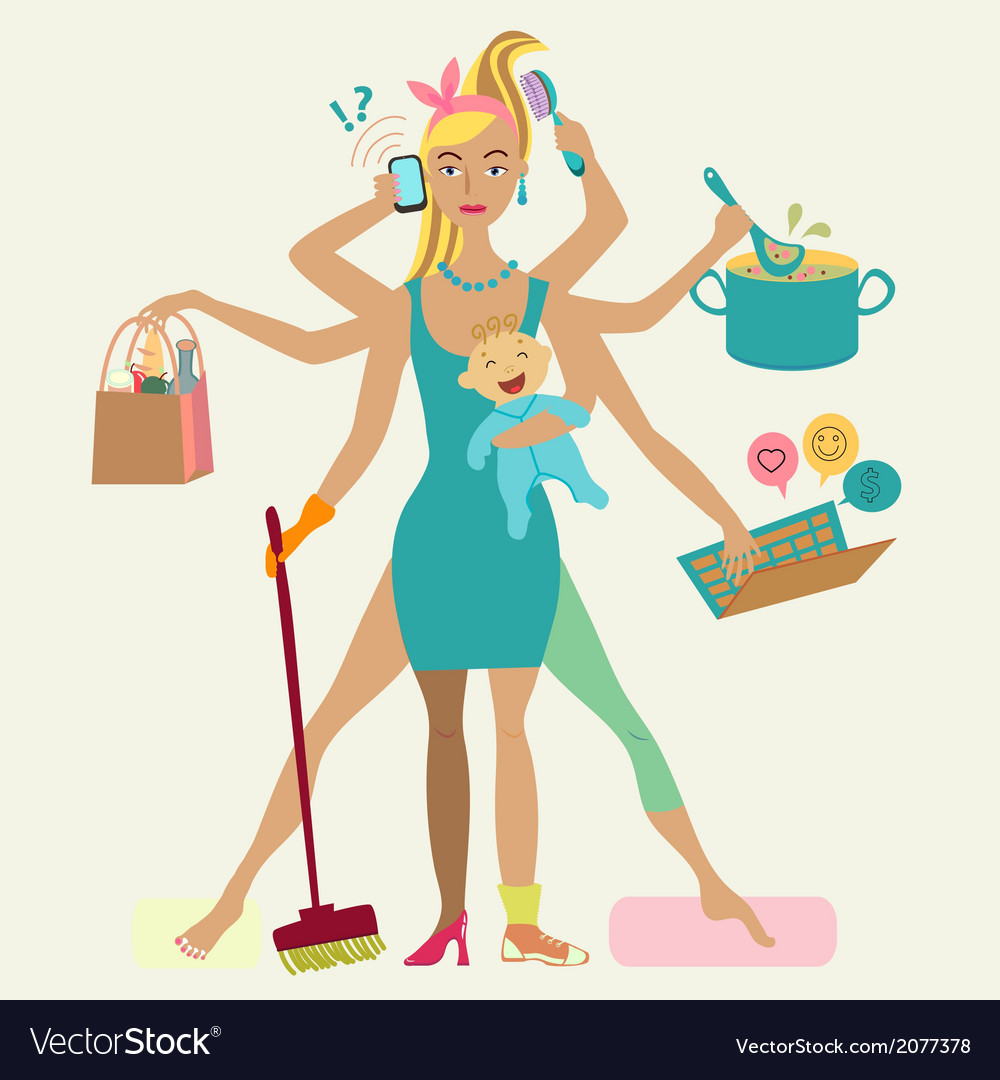 Super mother with newborn baby  cleaning shopping vector