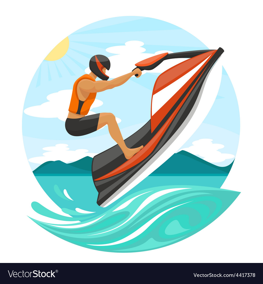 Young man on jet ski vector